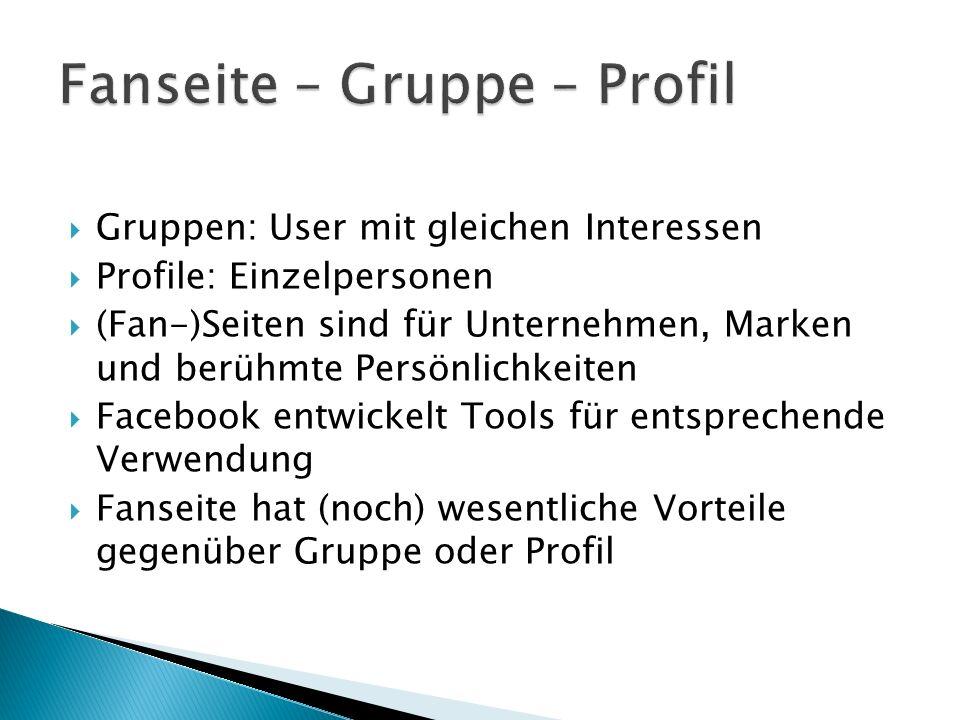  Gruppen: User mit gleichen Interessen  Profile: Einzelpersonen  (Fan-)Seiten sind für Unternehmen, Marken und berühmte Persönlichkeiten  Facebook entwickelt Tools für entsprechende Verwendung  Fanseite hat (noch) wesentliche Vorteile gegenüber Gruppe oder Profil