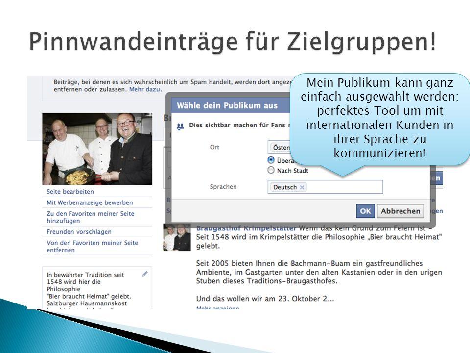 Mein Publikum kann ganz einfach ausgewählt werden; perfektes Tool um mit internationalen Kunden in ihrer Sprache zu kommunizieren!