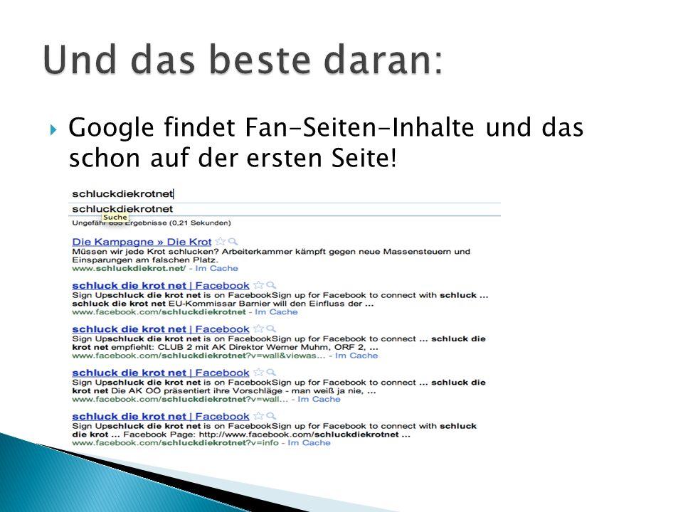  Google findet Fan-Seiten-Inhalte und das schon auf der ersten Seite!