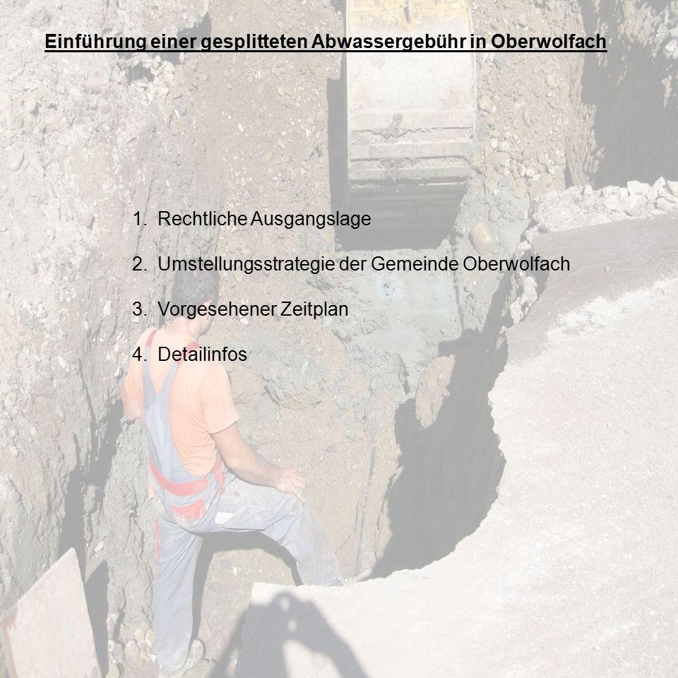 Einführung einer gesplitteten Abwassergebühr in Oberwolfach 1.Rechtliche Ausgangslage 2.Umstellungsstrategie der Gemeinde Oberwolfach 3.Vorgesehener Zeitplan 4.Detailinfos