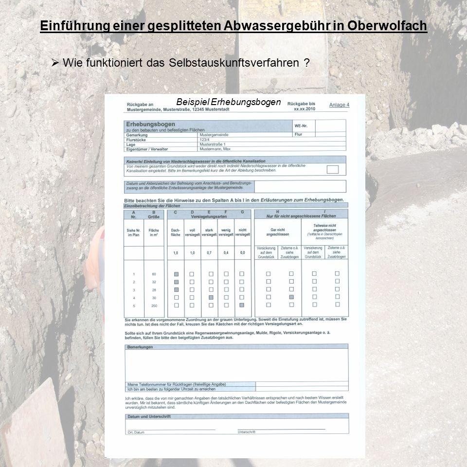 Einführung einer gesplitteten Abwassergebühr in Oberwolfach  Wie funktioniert das Selbstauskunftsverfahren .