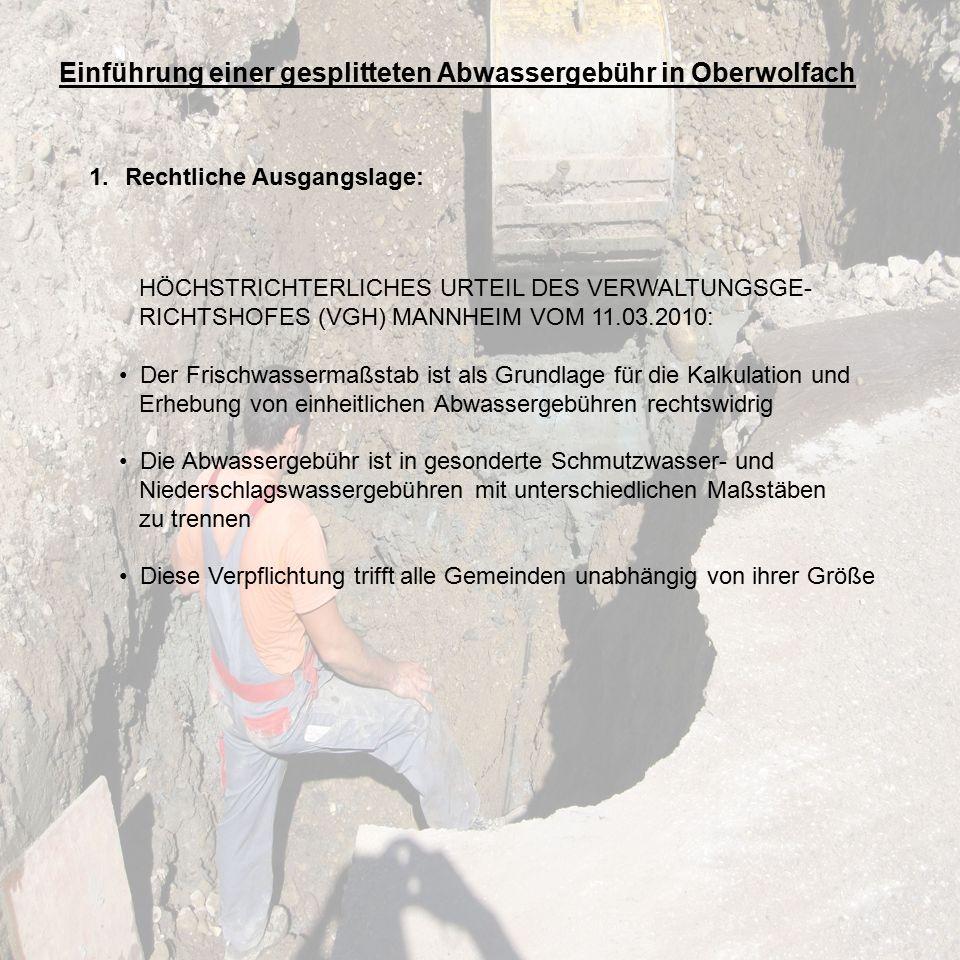 Einführung einer gesplitteten Abwassergebühr in Oberwolfach 1.Rechtliche Ausgangslage: HÖCHSTRICHTERLICHES URTEIL DES VERWALTUNGSGE- RICHTSHOFES (VGH) MANNHEIM VOM 11.03.2010: Der Frischwassermaßstab ist als Grundlage für die Kalkulation und Erhebung von einheitlichen Abwassergebühren rechtswidrig Die Abwassergebühr ist in gesonderte Schmutzwasser- und Niederschlagswassergebühren mit unterschiedlichen Maßstäben zu trennen Diese Verpflichtung trifft alle Gemeinden unabhängig von ihrer Größe