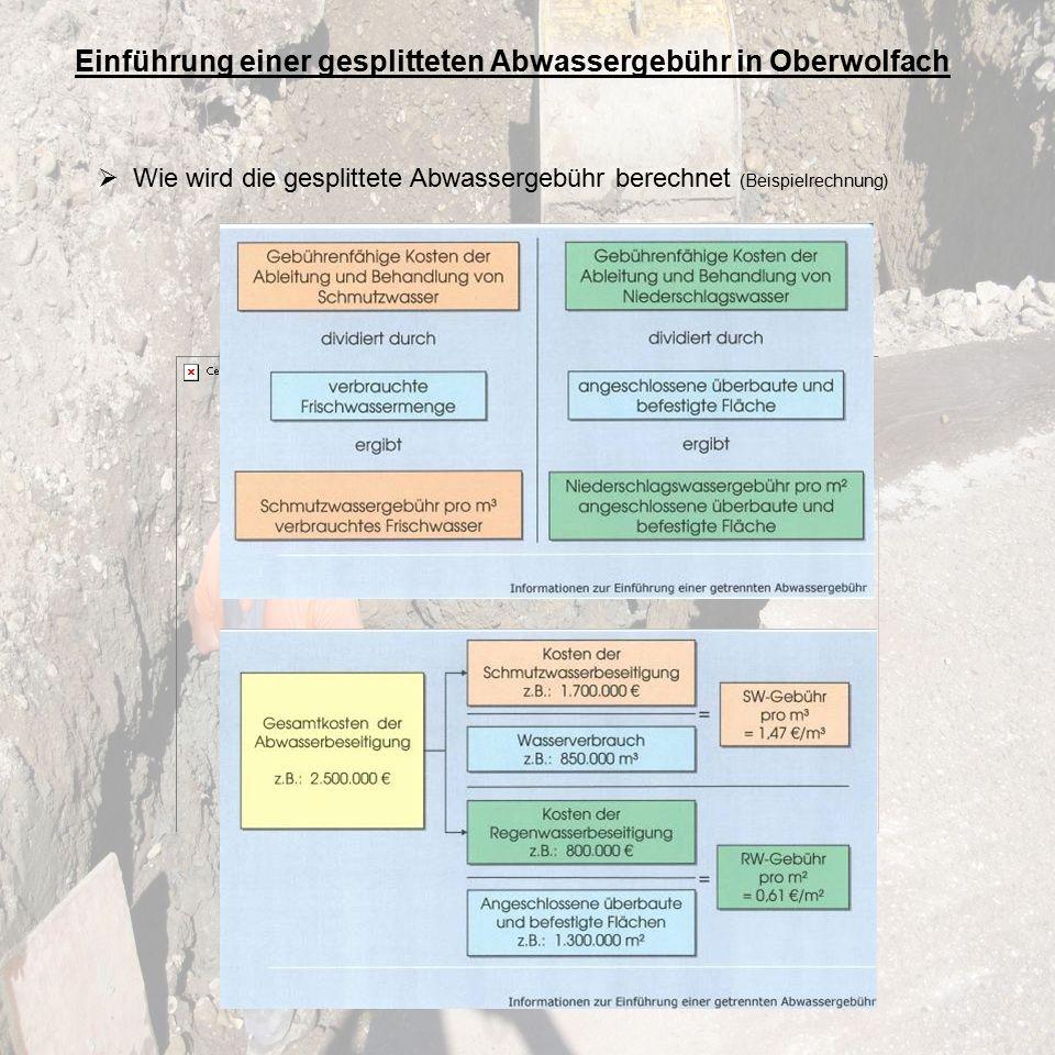 Einführung einer gesplitteten Abwassergebühr in Oberwolfach  Wie wird die gesplittete Abwassergebühr berechnet (Beispielrechnung)