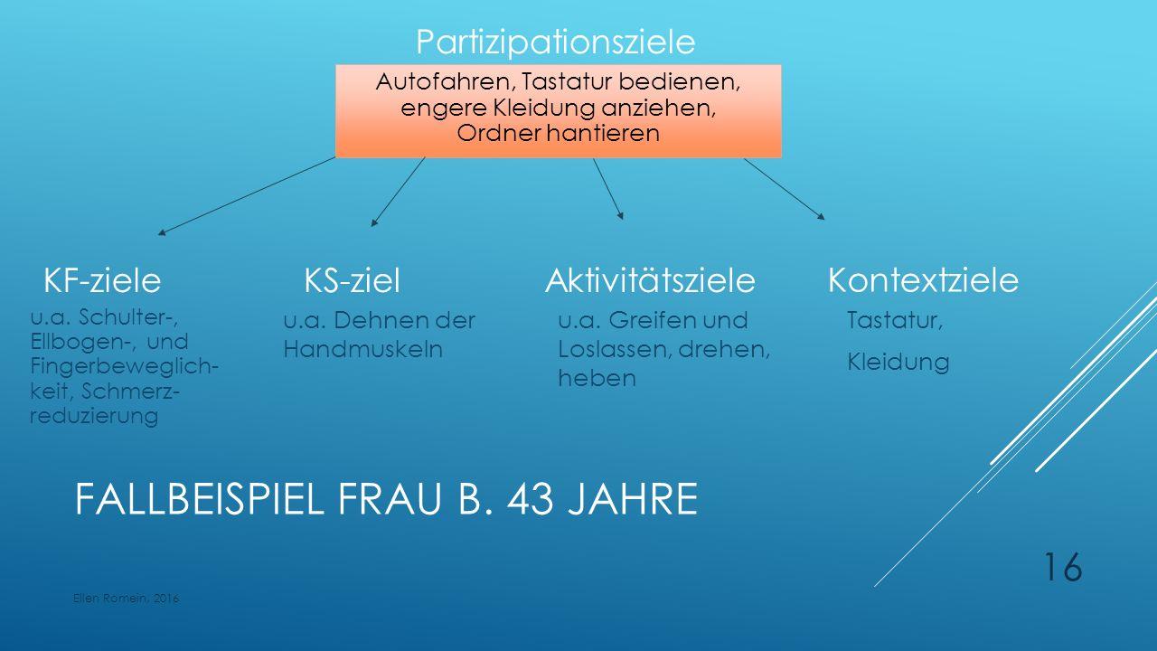 FALLBEISPIEL FRAU B. 43 JAHRE Aktivitätsziele u.a.