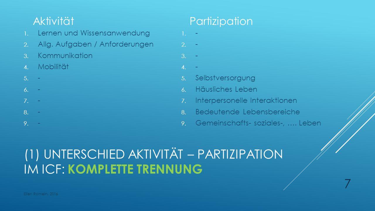 (1) UNTERSCHIED AKTIVITÄT – PARTIZIPATION IM ICF: KOMPLETTE TRENNUNG Aktivität 1.