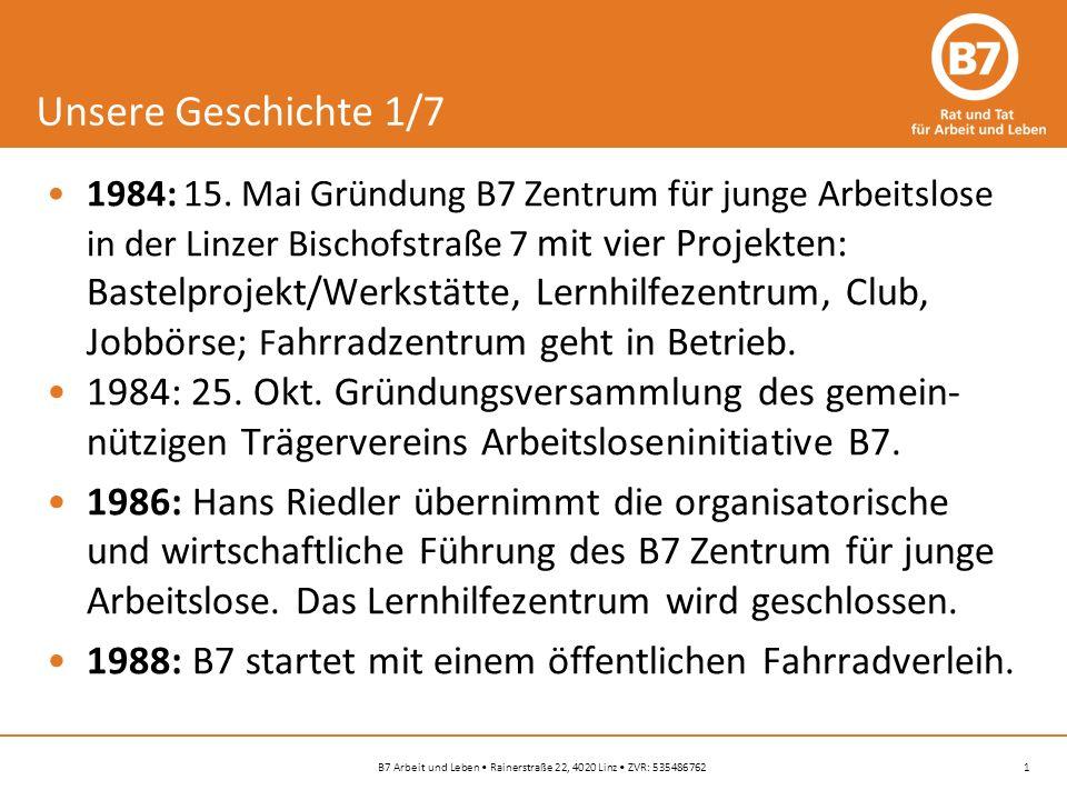 1B7 Arbeit und Leben Rainerstraße 22, 4020 Linz ZVR: 535486762 Unsere Geschichte 1/7 1984: 15.