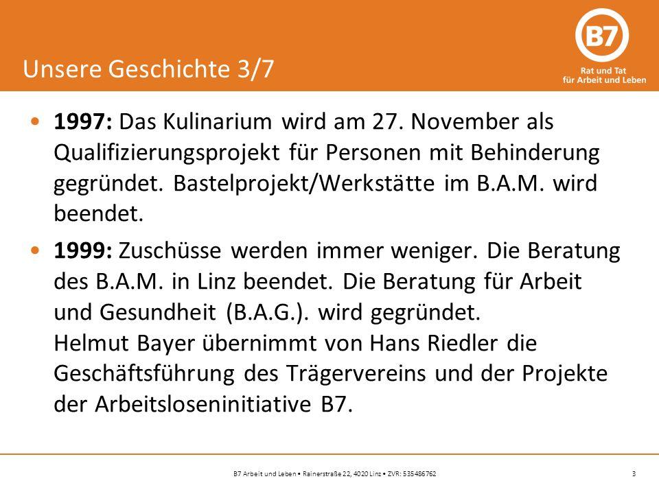 3B7 Arbeit und Leben Rainerstraße 22, 4020 Linz ZVR: 535486762 Unsere Geschichte 3/7 1997: Das Kulinarium wird am 27.