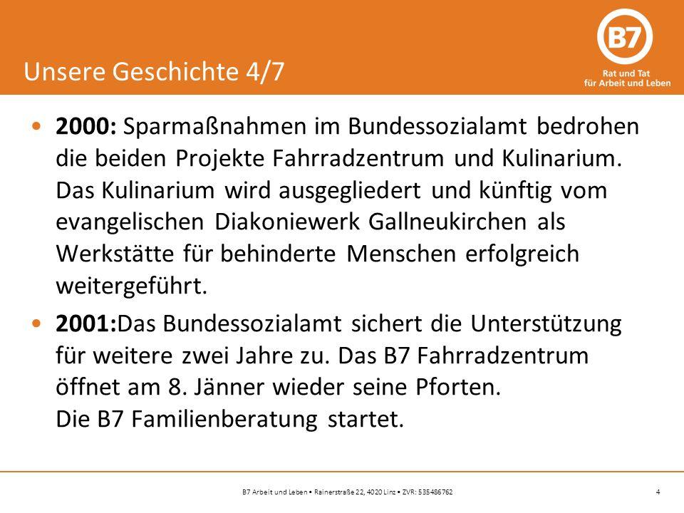 4B7 Arbeit und Leben Rainerstraße 22, 4020 Linz ZVR: 535486762 Unsere Geschichte 4/7 2000: Sparmaßnahmen im Bundessozialamt bedrohen die beiden Projekte Fahrradzentrum und Kulinarium.