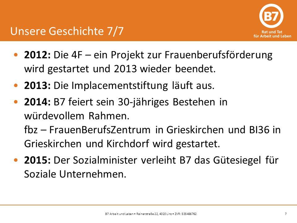 7B7 Arbeit und Leben Rainerstraße 22, 4020 Linz ZVR: 535486762 Unsere Geschichte 7/7 2012: Die 4F – ein Projekt zur Frauenberufsförderung wird gestartet und 2013 wieder beendet.