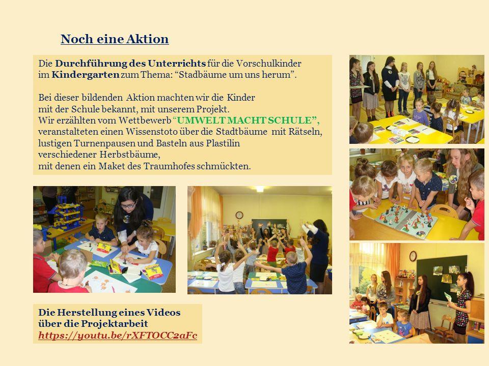 Die Durchführung des Unterrichts für die Vorschulkinder im Kindergarten zum Thema: Stadbäume um uns herum .