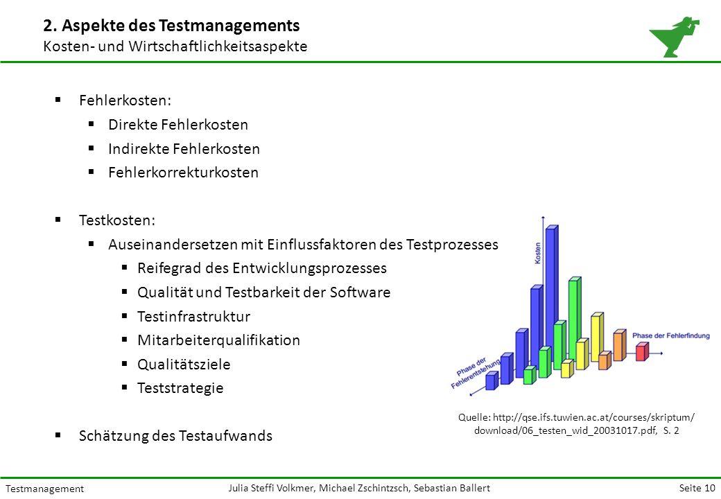 Seite 10 Testmanagement Julia Steffi Volkmer, Michael Zschintzsch, Sebastian Ballert 2.
