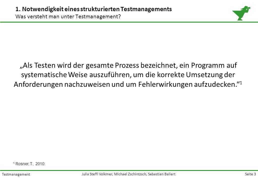 Seite 3 Testmanagement Julia Steffi Volkmer, Michael Zschintzsch, Sebastian Ballert 1.