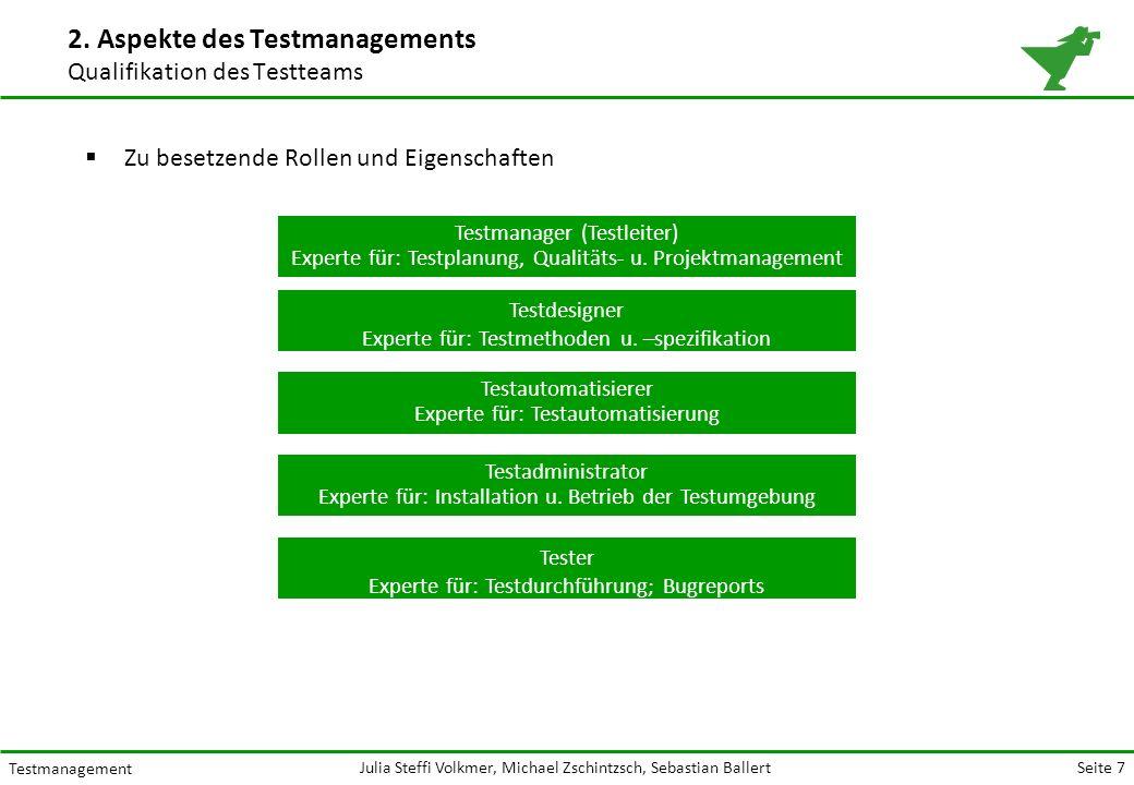 Seite 7 Testmanagement Julia Steffi Volkmer, Michael Zschintzsch, Sebastian Ballert  Zu besetzende Rollen und Eigenschaften 2.