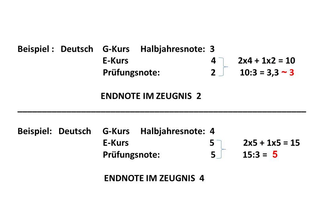 Beispiel : Deutsch G-Kurs Halbjahresnote: 3 E-Kurs 4 2x4 + 1x2 = 10 Prüfungsnote: 2 10:3 = 3,3 ~ 3 ENDNOTE IM ZEUGNIS 2 ___________________________________________________________ Beispiel: Deutsch G-Kurs Halbjahresnote: 4 E-Kurs 5 2x5 + 1x5 = 15 Prüfungsnote: 5 15:3 = 5 ENDNOTE IM ZEUGNIS 4