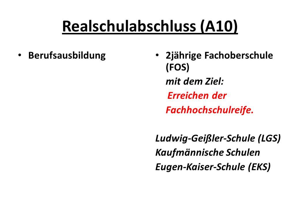 Realschulabschluss (A10) Berufsausbildung 2jährige Fachoberschule (FOS) mit dem Ziel: Erreichen der Fachhochschulreife.