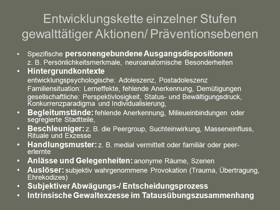 Entwicklungskette einzelner Stufen gewalttätiger Aktionen/ Präventionsebenen Spezifische personengebundene Ausgangsdispositionen z.