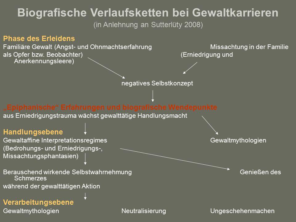 Biografische Verlaufsketten bei Gewaltkarrieren (in Anlehnung an Sutterlüty 2008) Phase des Erleidens Familiäre Gewalt (Angst- und Ohnmachtserfahrung Missachtung in der Familie als Opfer bzw.