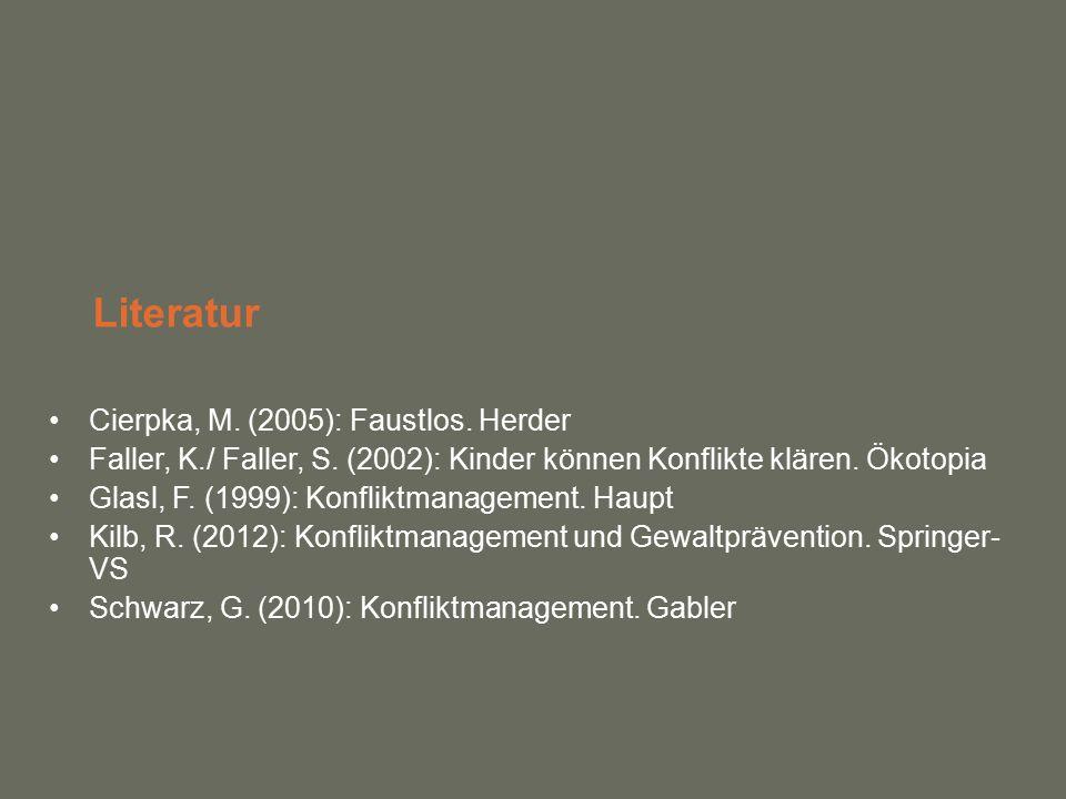 Literatur Cierpka, M. (2005): Faustlos. Herder Faller, K./ Faller, S.