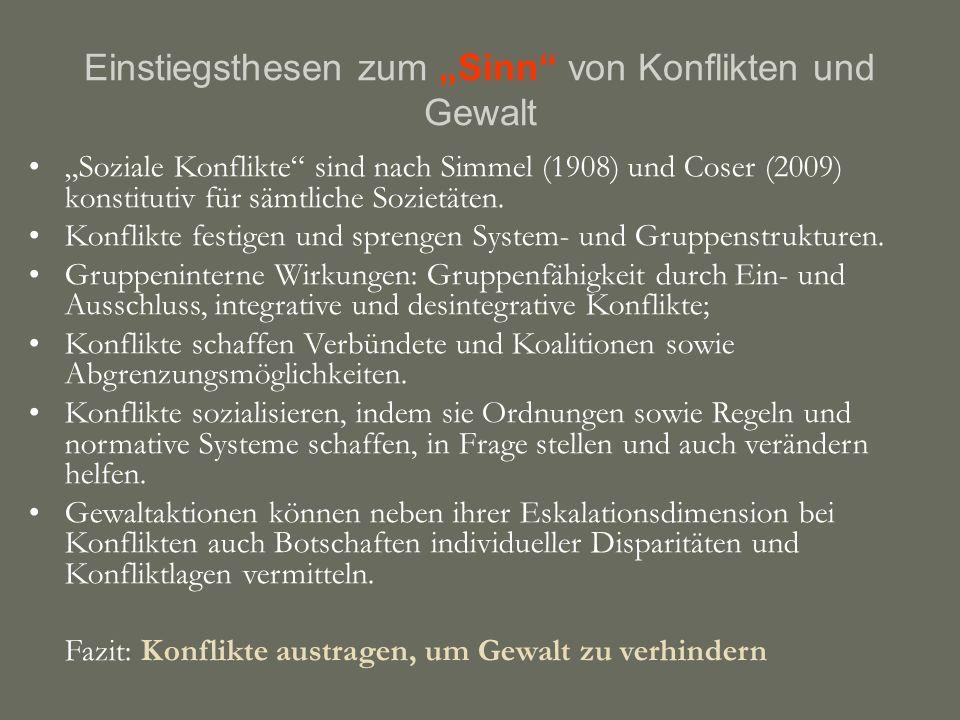 """Einstiegsthesen zum """"Sinn von Konflikten und Gewalt """"Soziale Konflikte sind nach Simmel (1908) und Coser (2009) konstitutiv für sämtliche Sozietäten."""