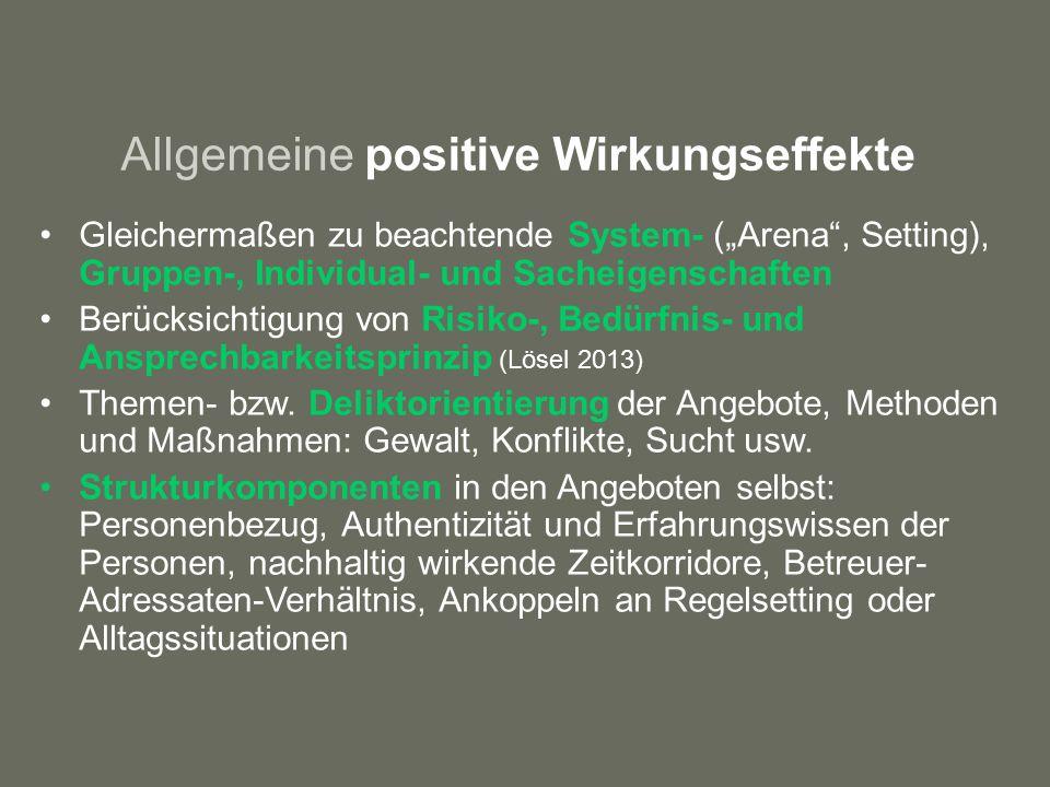 """Allgemeine positive Wirkungseffekte Gleichermaßen zu beachtende System- (""""Arena , Setting), Gruppen-, Individual- und Sacheigenschaften Berücksichtigung von Risiko-, Bedürfnis- und Ansprechbarkeitsprinzip (Lösel 2013) Themen- bzw."""