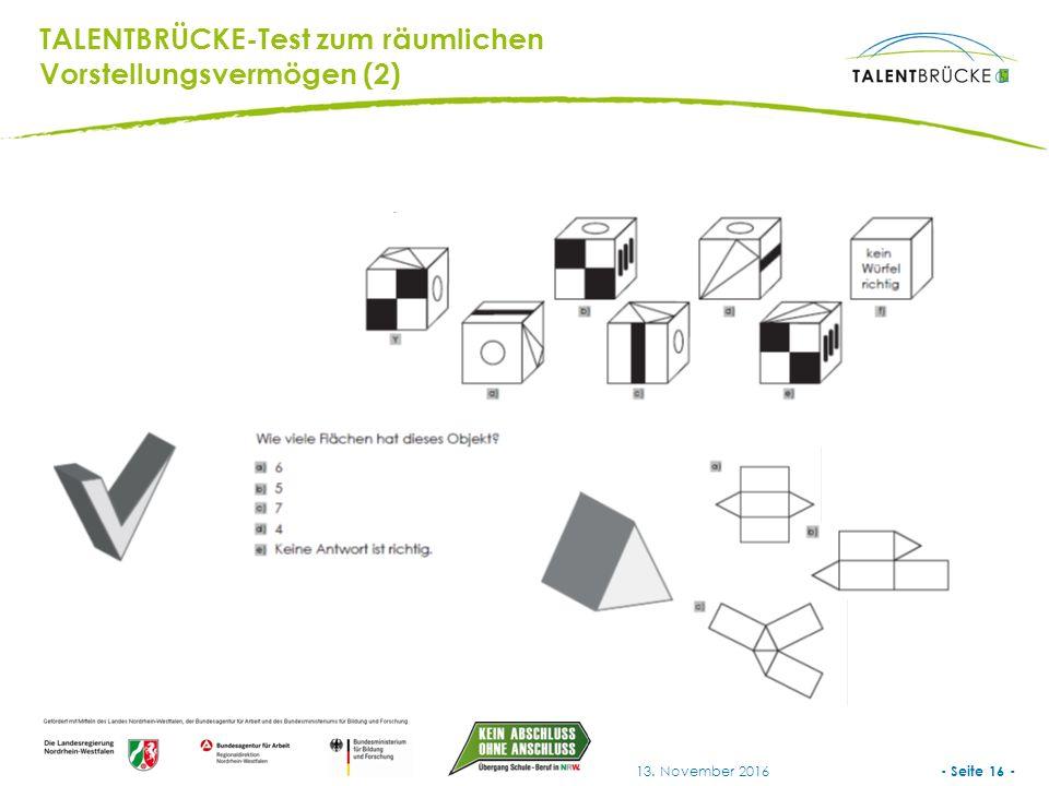 - Seite 16 - 13. November 2016 TALENTBRÜCKE-Test zum räumlichen Vorstellungsvermögen (2)