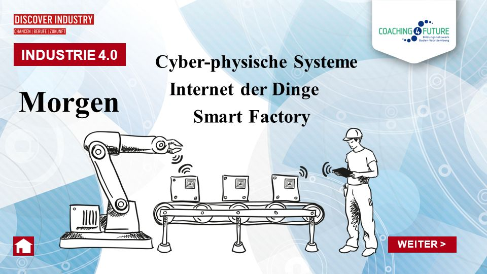 INDUSTRIE 4.0 Morgen Cyber-physische Systeme Internet der Dinge Smart Factory WEITER >