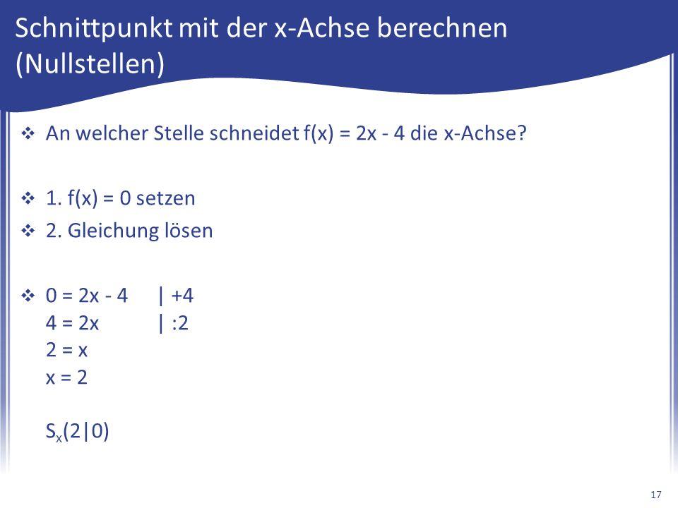 Schnittpunkt mit der x-Achse berechnen (Nullstellen)  An welcher Stelle schneidet f(x) = 2x - 4 die x-Achse.