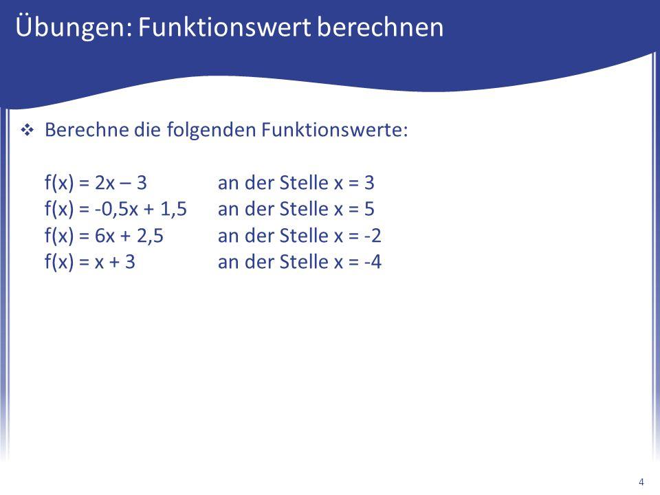 Übungen: Funktionswert berechnen  Berechne die folgenden Funktionswerte: f(x) = 2x – 3an der Stelle x = 3 f(x) = -0,5x + 1,5an der Stelle x = 5 f(x) = 6x + 2,5an der Stelle x = -2 f(x) = x + 3an der Stelle x = -4 4