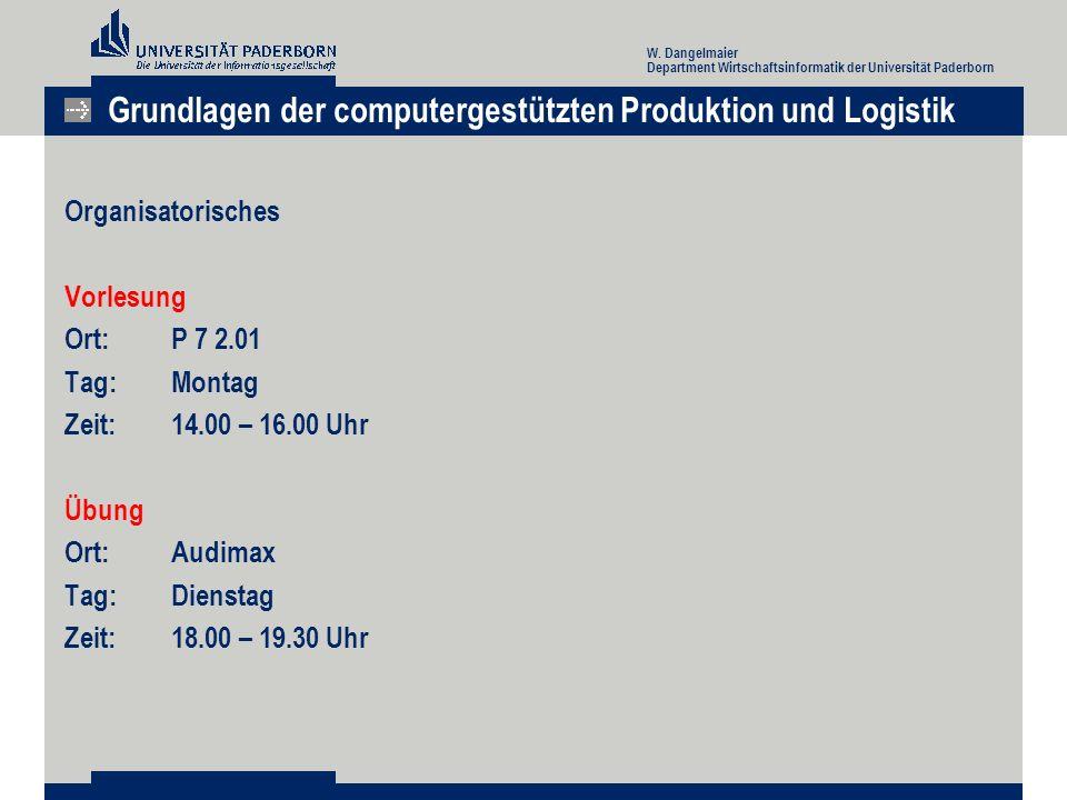 Organisatorisches Vorlesung Ort: P 7 2.01 Tag: Montag Zeit: 14.00 – 16.00 Uhr Übung Ort:Audimax Tag: Dienstag Zeit:18.00 – 19.30 Uhr Grundlagen der computergestützten Produktion und Logistik W.