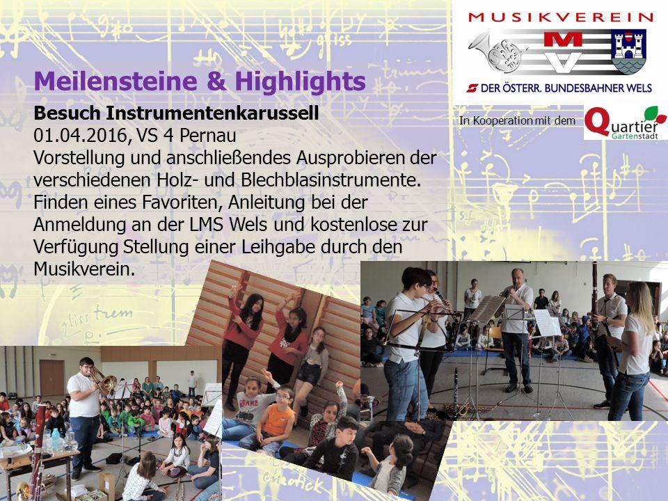In Kooperation mit dem Meilensteine & Highlights Besuch Instrumentenkarussell 01.04.2016, VS 4 Pernau Vorstellung und anschließendes Ausprobieren der verschiedenen Holz- und Blechblasinstrumente.