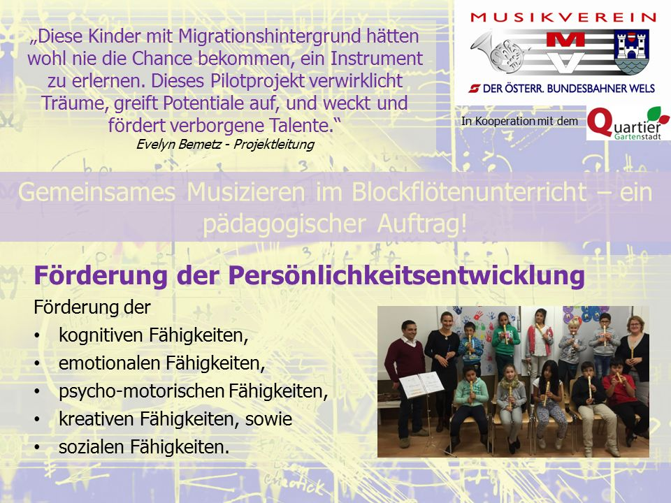 """In Kooperation mit dem """"Diese Kinder mit Migrationshintergrund hätten wohl nie die Chance bekommen, ein Instrument zu erlernen."""