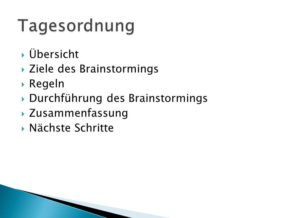  Übersicht  Ziele des Brainstormings  Regeln  Durchführung des Brainstormings  Zusammenfassung  Nächste Schritte
