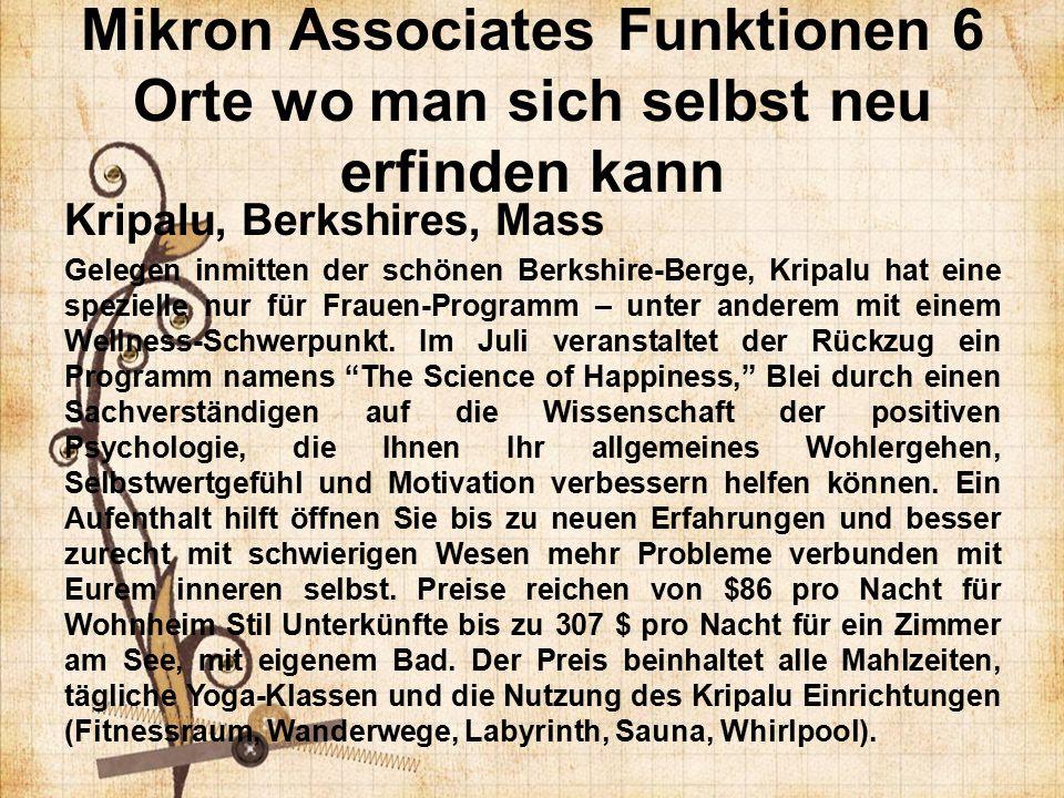 Mikron Associates Funktionen 6 Orte wo man sich selbst neu erfinden kann Kripalu, Berkshires, Mass Gelegen inmitten der schönen Berkshire-Berge, Kripalu hat eine spezielle nur für Frauen-Programm – unter anderem mit einem Wellness-Schwerpunkt.
