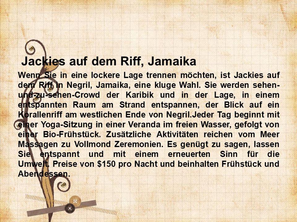 Jackies auf dem Riff, Jamaika Wenn Sie in eine lockere Lage trennen möchten, ist Jackies auf dem Riff in Negril, Jamaika, eine kluge Wahl.