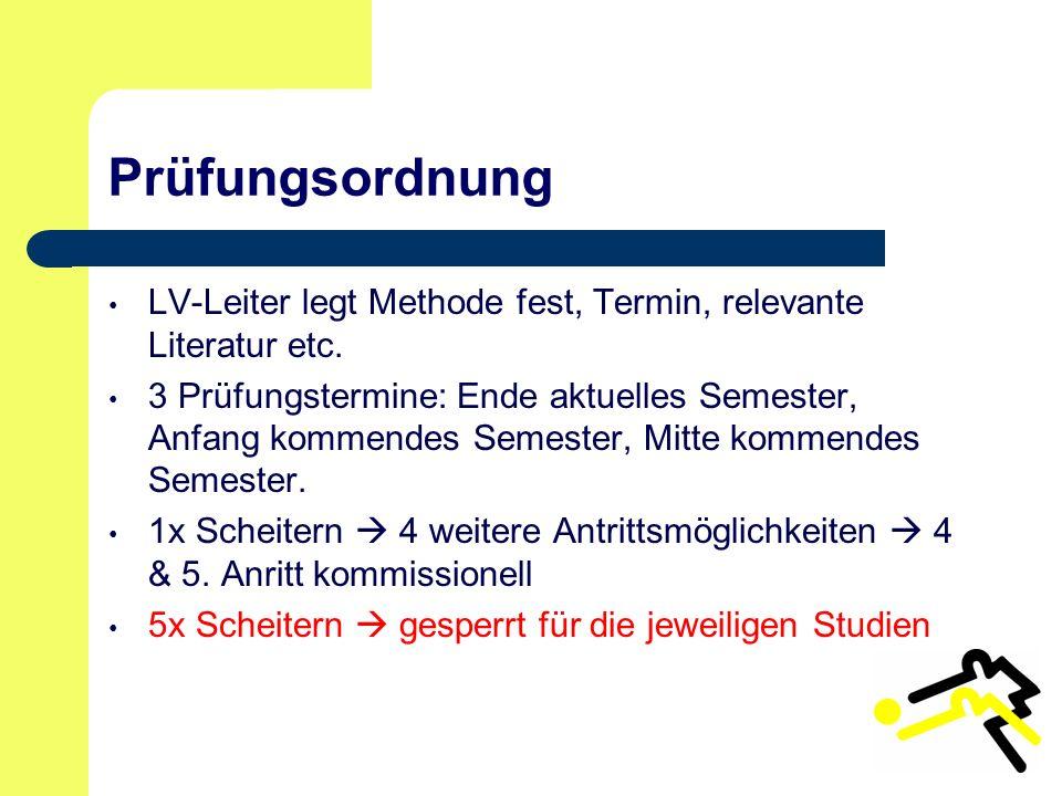 Prüfungsordnung LV-Leiter legt Methode fest, Termin, relevante Literatur etc.
