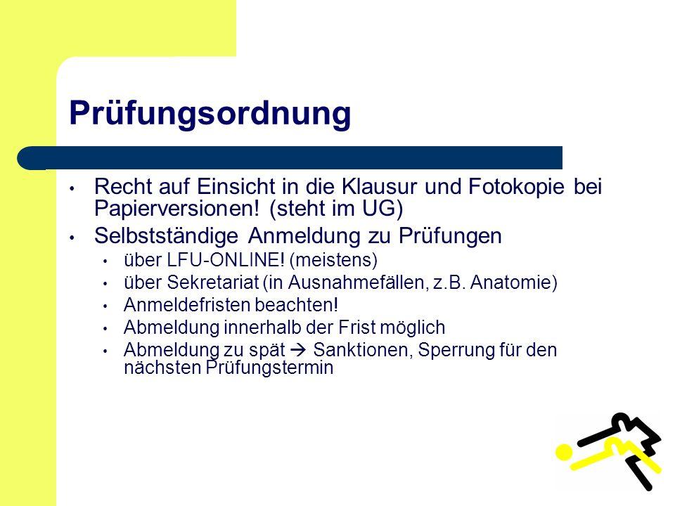 Prüfungsordnung Recht auf Einsicht in die Klausur und Fotokopie bei Papierversionen.