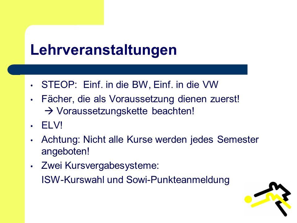 Lehrveranstaltungen STEOP: Einf. in die BW, Einf.
