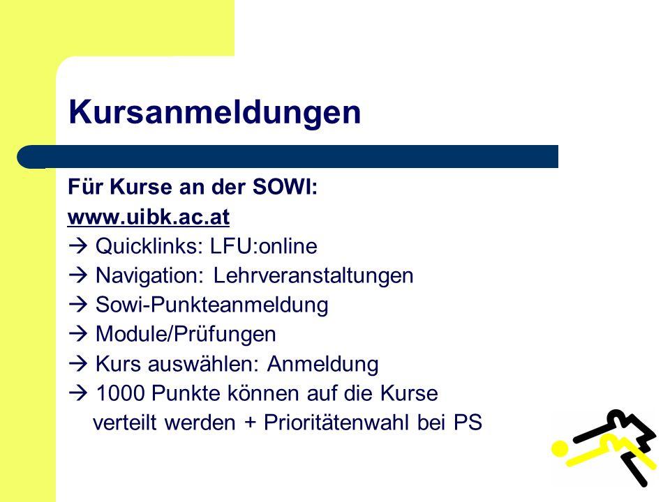 Kursanmeldungen Für Kurse an der SOWI: www.uibk.ac.at  Quicklinks: LFU:online  Navigation: Lehrveranstaltungen  Sowi-Punkteanmeldung  Module/Prüfungen  Kurs auswählen: Anmeldung  1000 Punkte können auf die Kurse verteilt werden + Prioritätenwahl bei PS