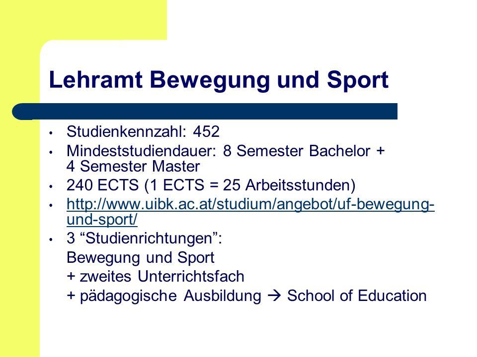 Lehramt Bewegung und Sport Studienkennzahl: 452 Mindeststudiendauer: 8 Semester Bachelor + 4 Semester Master 240 ECTS (1 ECTS = 25 Arbeitsstunden) http://www.uibk.ac.at/studium/angebot/uf-bewegung- und-sport/ http://www.uibk.ac.at/studium/angebot/uf-bewegung- und-sport/ 3 Studienrichtungen : Bewegung und Sport + zweites Unterrichtsfach + pädagogische Ausbildung  School of Education