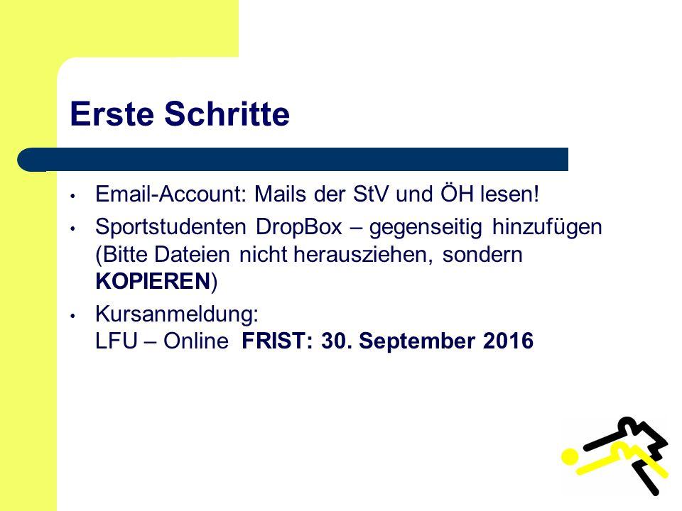 Erste Schritte Email-Account: Mails der StV und ÖH lesen.