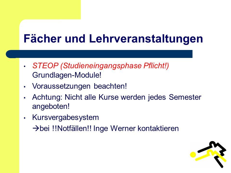Fächer und Lehrveranstaltungen STEOP (Studieneingangsphase Pflicht!) Grundlagen-Module.
