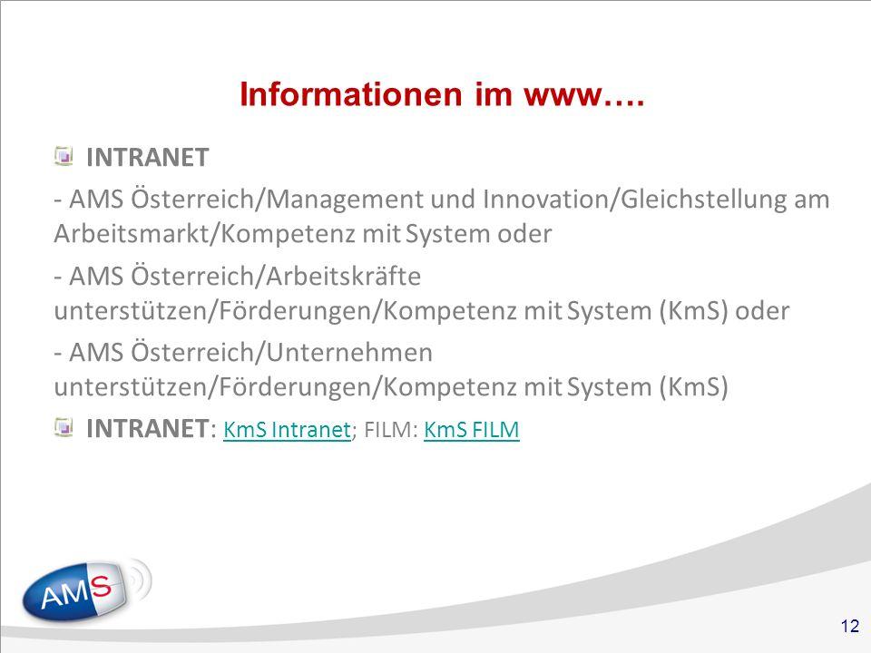 12 Informationen im www….