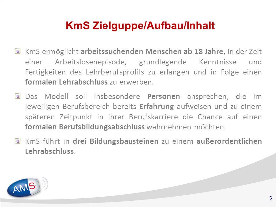 2 KmS Zielguppe/Aufbau/Inhalt KmS ermöglicht arbeitssuchenden Menschen ab 18 Jahre, in der Zeit einer Arbeitslosenepisode, grundlegende Kenntnisse und Fertigkeiten des Lehrberufsprofils zu erlangen und in Folge einen formalen Lehrabschluss zu erwerben.