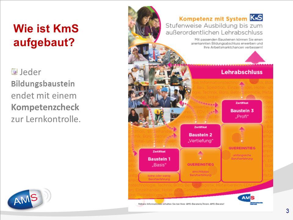 3 Wie ist KmS aufgebaut Jeder Bildungsbaustein endet mit einem Kompetenzcheck zur Lernkontrolle.
