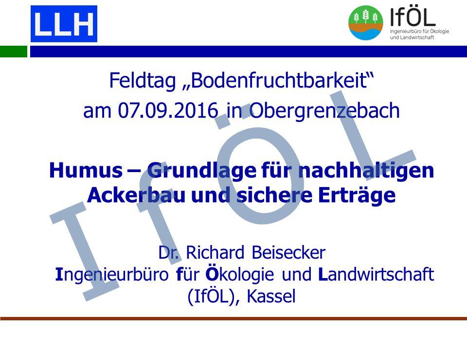 """Feldtag """"Bodenfruchtbarkeit am 07.09.2016 in Obergrenzebach Humus – Grundlage für nachhaltigen Ackerbau und sichere Erträge Dr."""