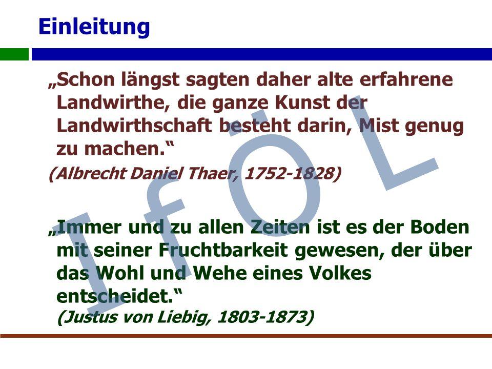 """Einleitung """"Schon längst sagten daher alte erfahrene Landwirthe, die ganze Kunst der Landwirthschaft besteht darin, Mist genug zu machen. (Albrecht Daniel Thaer, 1752-1828) """"Immer und zu allen Zeiten ist es der Boden mit seiner Fruchtbarkeit gewesen, der über das Wohl und Wehe eines Volkes entscheidet. (Justus von Liebig, 1803-1873) I f Ö L"""