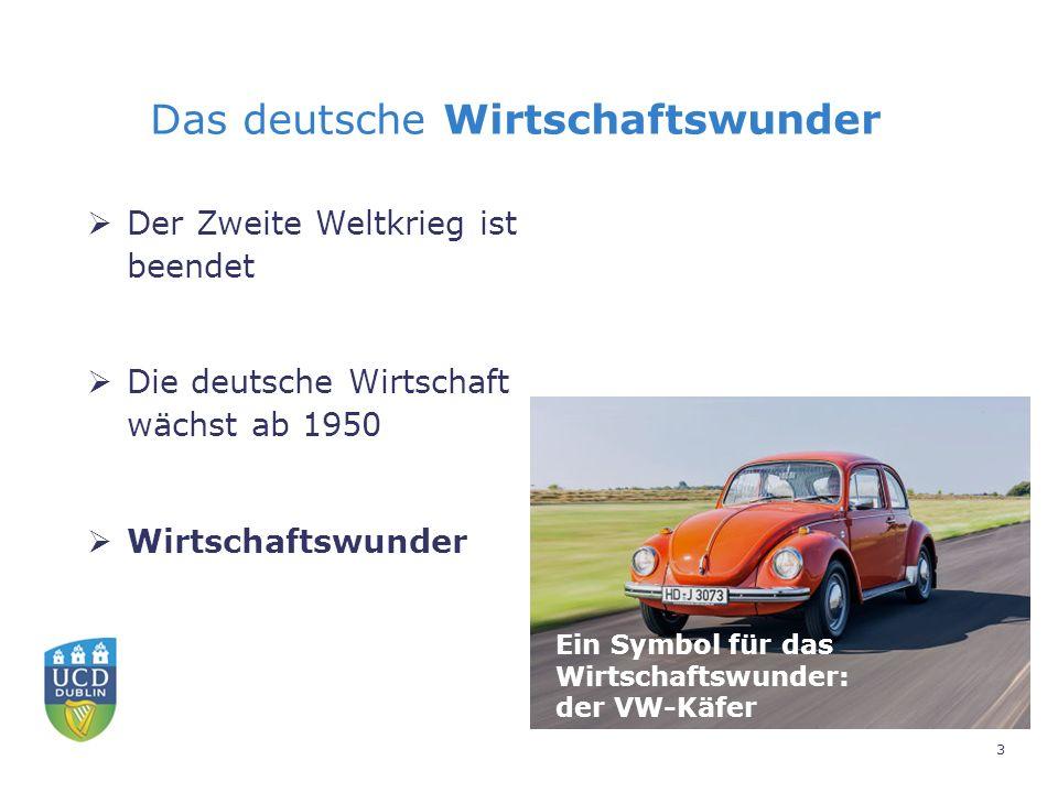 Das deutsche Wirtschaftswunder  Der Zweite Weltkrieg ist beendet  Die deutsche Wirtschaft wächst ab 1950  Wirtschaftswunder Ein Symbol für das Wirtschaftswunder: der VW-Käfer 3