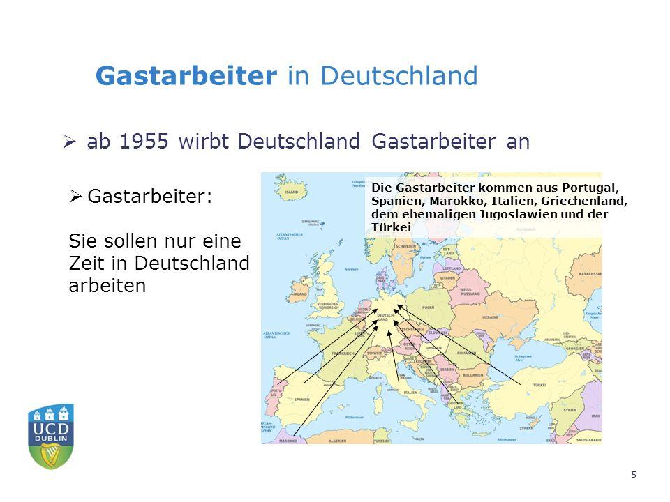 Gastarbeiter in Deutschland  ab 1955 wirbt Deutschland Gastarbeiter an  Gastarbeiter: Sie sollen nur eine Zeit in Deutschland arbeiten Die Gastarbeiter kommen aus Portugal, Spanien, Marokko, Italien, Griechenland, dem ehemaligen Jugoslawien und der Türkei 5