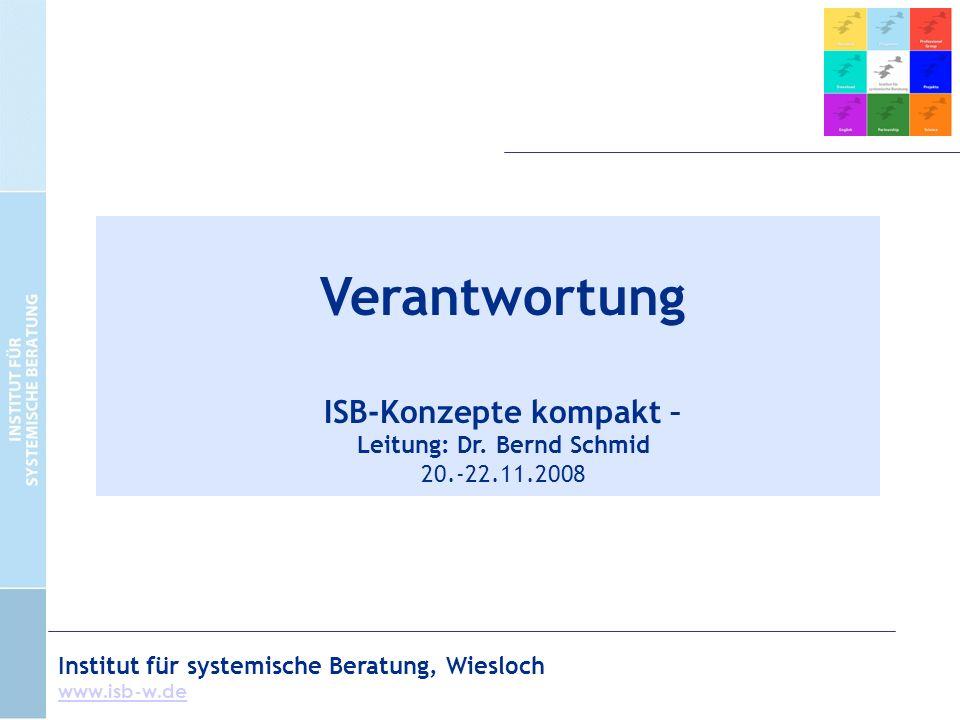 Institut für systemische Beratung, Wiesloch www.isb-w.de Verantwortung ISB-Konzepte kompakt – Leitung: Dr.