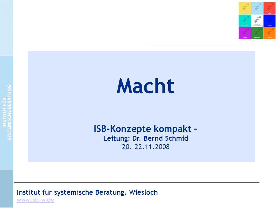 Institut für systemische Beratung, Wiesloch www.isb-w.de Macht ISB-Konzepte kompakt – Leitung: Dr.